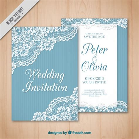 Wedding Card Vintage by Vintage Wedding Card With Lace Detail Vector Free