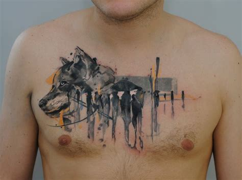 watercolor tattoos wolf watercolor wolf on chest by dopeindulgence