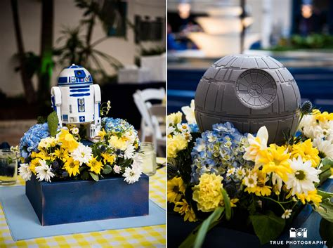 wars themed centerpieces during reception at air and space museum weddingphotography