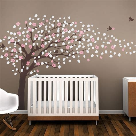 Brown Tree Wall Decal Nursery Brown Cherry Blossom Tree For Nursery Decor Vinyl Wall Decal For Room Decor Color Scheme B