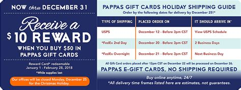 Pappas Gift Card - pappas gift card promotion 2017 lamoureph blog