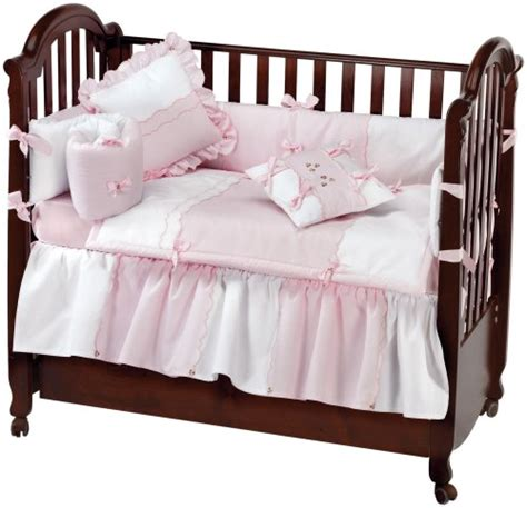 Soft Pink Crib Bedding Low Price On Picci Dafne 4 Infant Bedding Set In Soft Pink And White Cotton Piquet And