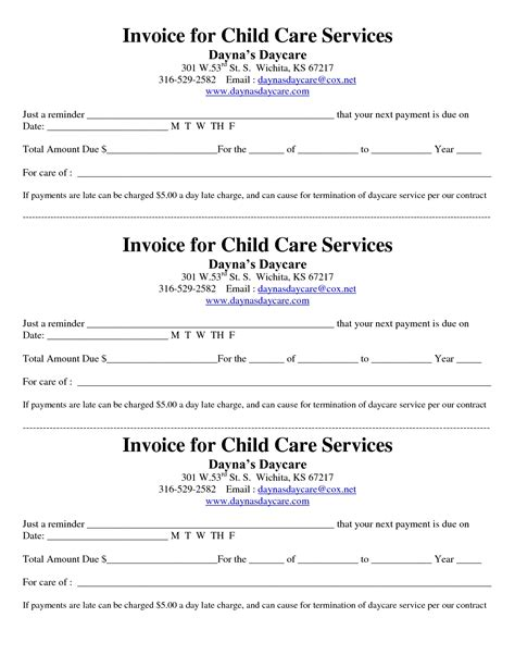 free child care receipt template daycare invoice template invoice template ideas