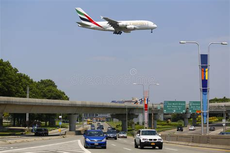 emirates jfk terminal emirates airline airbus a380 on approach to jfk