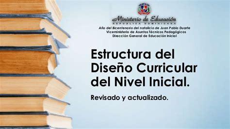 Diseño Curricular Dominicano Nivel Medio Estructura Dise 241 O Curricular Nivel Inicial Revisado Y Actual