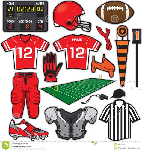 Football Giveaways - football items stock vector illustration of pads