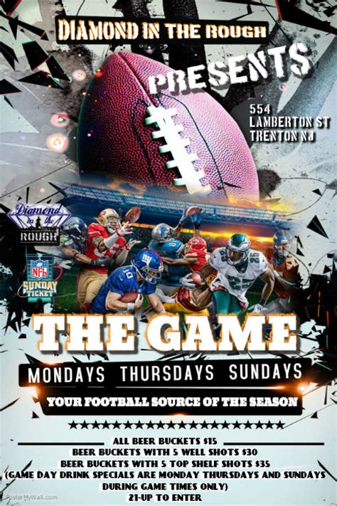 design flyer football nfl game day flyer template postermywall