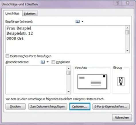 Etiketten Drucken Word Funktioniert Nicht by Umschl 228 Ge Und Etiketten In Word Erstellen Office Lernen