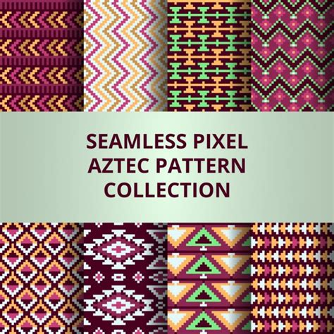 aztec pattern ai aztec patterns with pixels vector free download