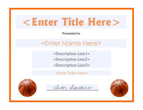 8 basketball certificate templates download free
