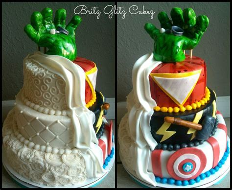 Hochzeitstorte Marvel by Half Wedding Cake Half Grooms Cake This One
