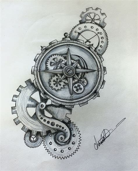 compass tattoo with gears steunk compass by shaza719 on deviantart