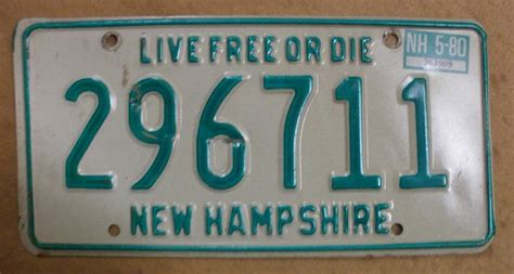 1980 new hshire license plate 296711