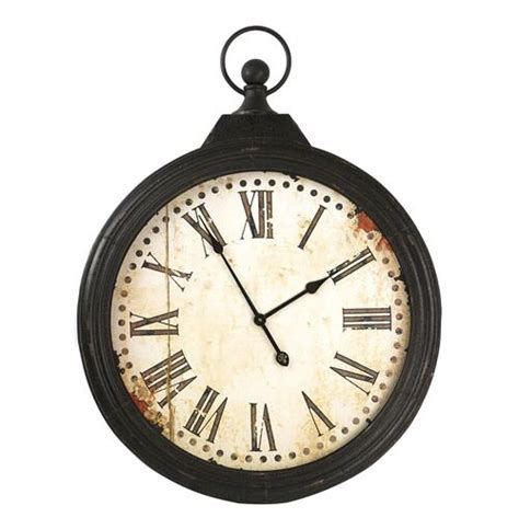 rustic crackle face oversize wall clock transitional rustic iron large pocket watch wall clock kathy kuo home