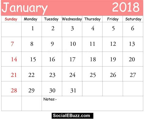 Printable January 2018 Calendar Win | january 2018 calendar printable template with holidays pdf