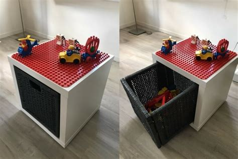 lego table with plastic drawers lego play table with drawer storage ikea hackers