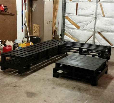how to make a pallet couch diy black stained whole pallet sofa set
