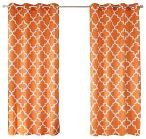 Moroccan Print Curtains Velvet Moroccan Print Grommet Top Curtain Pair 84 Quot L Orange Contemporary Curtains By Best