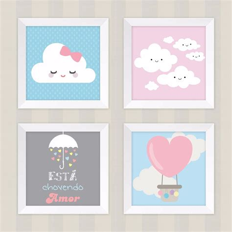 decorar kit de bebe kit 4 quadros decora 231 227 o infantil quarto beb 234 chuva amor