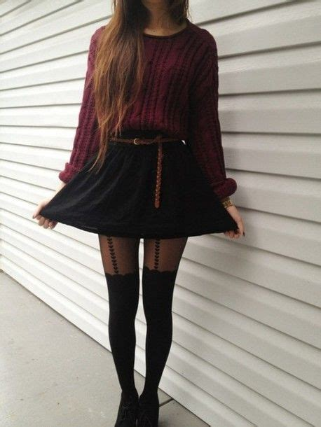 straight hair with outfits knitted maroon sweater long straight hair black skirt