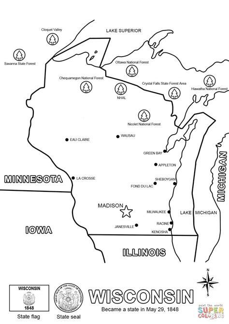 printable map coloring page wisconsin state map coloring page free printable