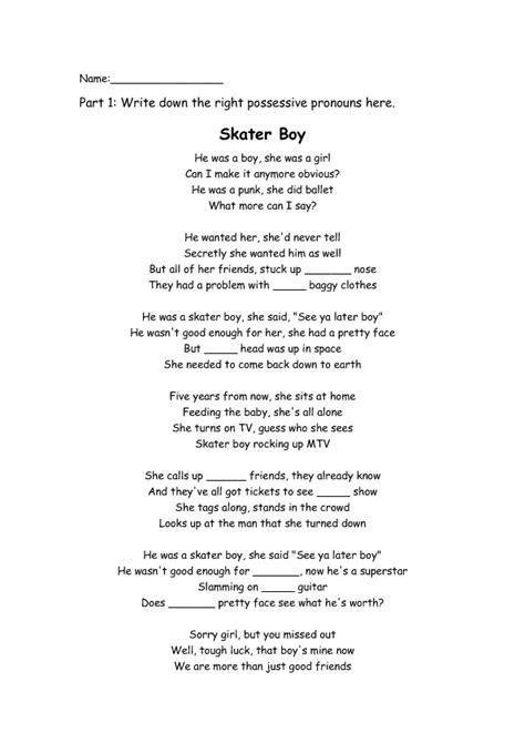 Song Worksheet: Skaterboy by Avril Lavigne