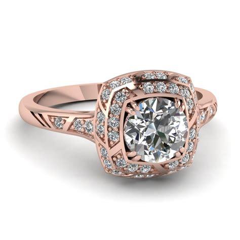 cut diamond engagement ring   rose gold