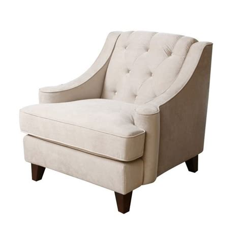 beige armchair abbyson living emily velvet tufted arm chair in beige rl