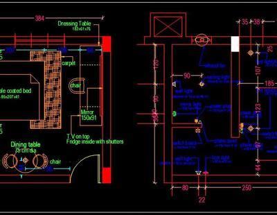 hotel guest room interior floor plan   autocad