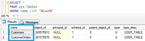 name pattern in sql how to find all the tables with name like a given pattern