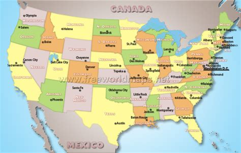 usa map political states a world of maps