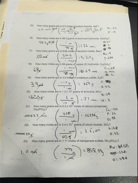 mole calculations worksheet answers mole calculations worksheets answers
