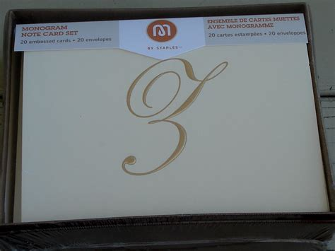 Staples Printable Note Cards | staples monogram note card set 20 embossed cards