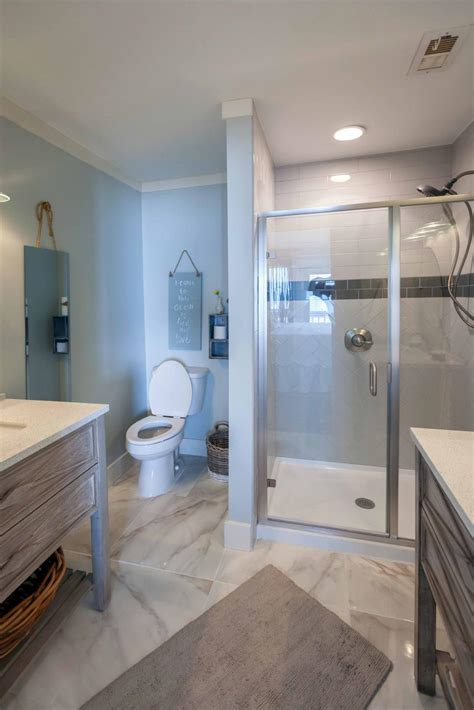 traditional master bathroom with high end finishes beach
