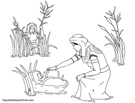 Baby Moses Coloring Pages baby moses coloring page teach about