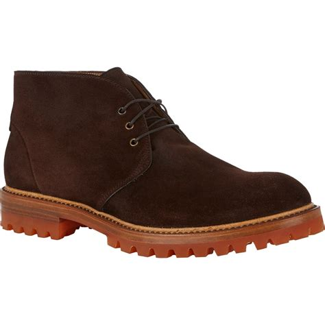 lug boots barneys new york lug sole chukka boots in brown for lyst