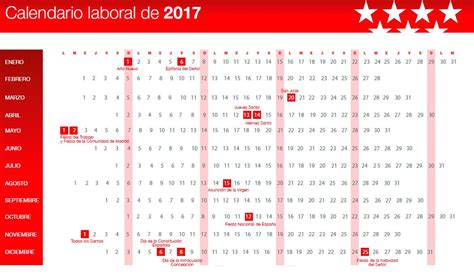 Calendario Laboral 2017 Madrid Capital Aprobado El Calendario Laboral De 2017 Madridiario