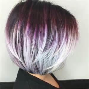 shag haircut brown hair with lavender grey streaks fryzury 2017 modne cięcia bob kobieceporady pl