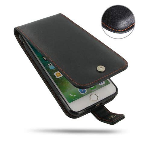 iphone 8 plus leather flip orange stitch pdair sleeve pouch