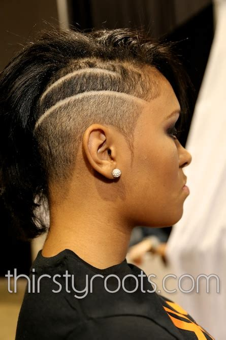 black hair with shafed sides shaved side haircut black woman