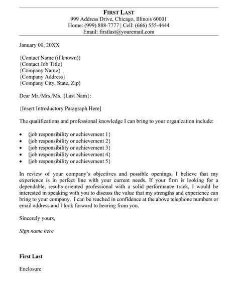 examples writing good cover letter templates