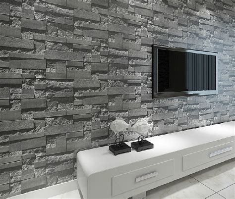 brick wallpaper grey living room roll grass picture more detailed picture about stacked