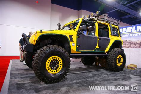 2012 sema superlift yellow 4 door jeep jk wrangler