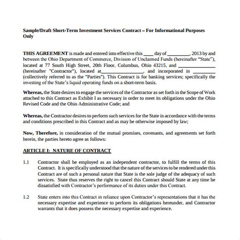 investment agreement template investment contract template 7 free sle exle