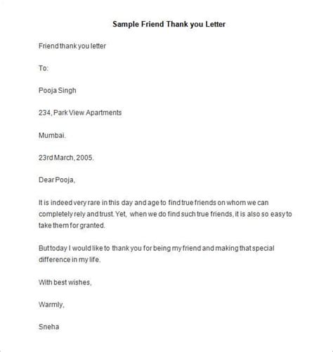 thank you letter exles for a friend friendly letter templates 44 free sle exle