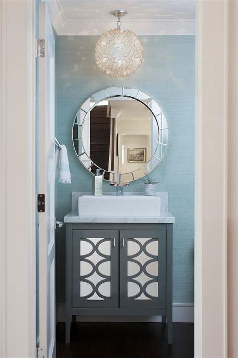 powder room vanity white and blue chinoiserie powder room with pagoda mirror