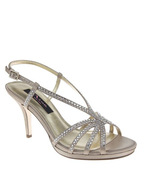 rhinestone sandal heels bobbie rhinestone sandal heels in beige lyst
