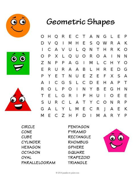 printable word search geometry geometry word search