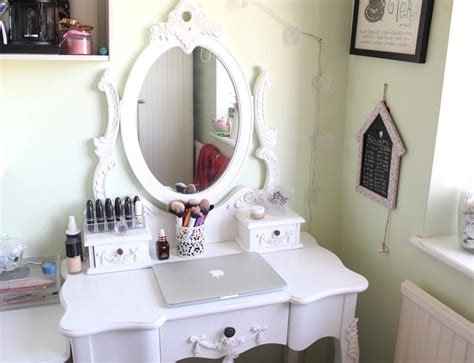 Vanity Dressing Table Ideas by Attractive White Oval Mirror And Unique White Makeup