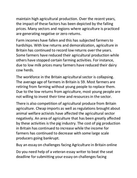 Challenge Essay Exle by Sle Essay On Challenges Facing Agriculture In Britain